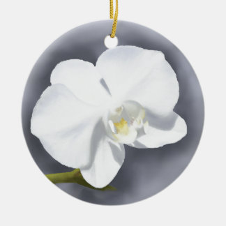 White Orchid Flower Round Ceramic Decoration