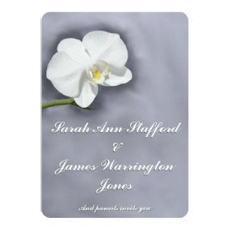 White Orchid Flower Wedding Invitation