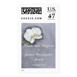 White Orchid Flower Wedding Postage Stamp