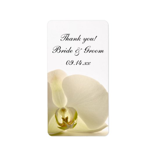 White Orchid Flower Wedding Thank You Favour Tags