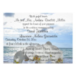 White Orchid Ocean Waves Wedding Personalized Announcements