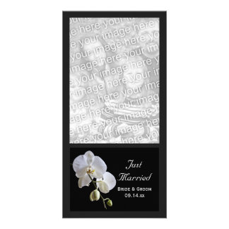 White Orchid on Black Just Married Wedding Customized Photo Card