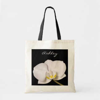 White Orchid On Black Tote Bag