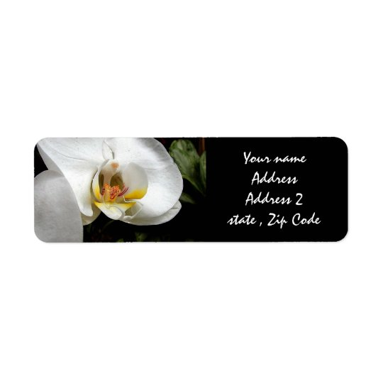 White Orchid Return Address Label