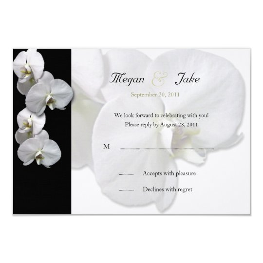 White Orchid RSVP Invitation
