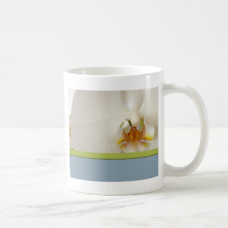 White orchid template with blue and green accent basic white mug
