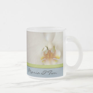 White orchid template with blue and green accent frosted glass mug