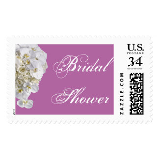 White Orchid Wedding Bridal Shower Postage Stamp
