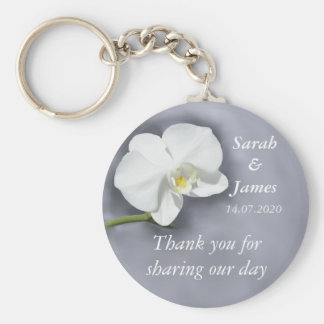 White Orchid Wedding Favor Key Ring