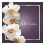 White orchid wedding invitations/plum/lilac