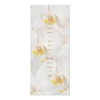 "White orchid wedding menu template 4"" x 9.25"" invitation card"