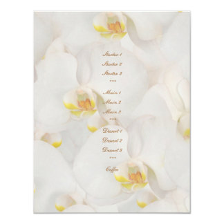 "White orchid wedding menu template stylish 4.25"" x 5.5"" invitation card"