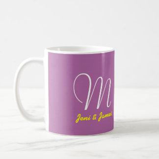 White Orchid Wedding Monogram Mug