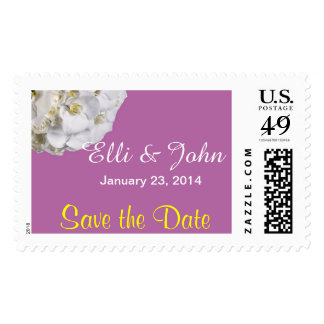 White Orchid Wedding Save the Date Postage Stamp