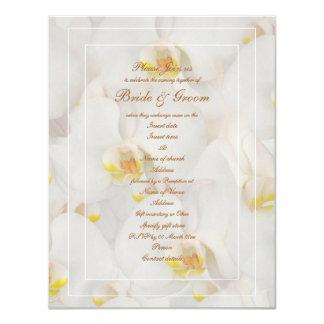"White orchid wedding stylish template 4.25"" x 5.5"" invitation card"