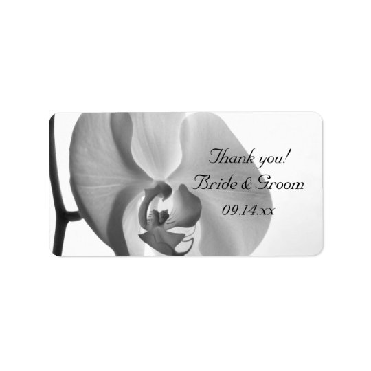 White Orchid Wedding Thank You Favour Tag Address Label