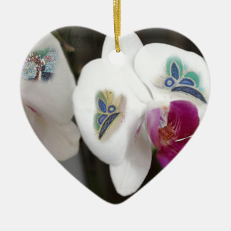 White Orchids and Butterflies Ceramic Heart Decoration