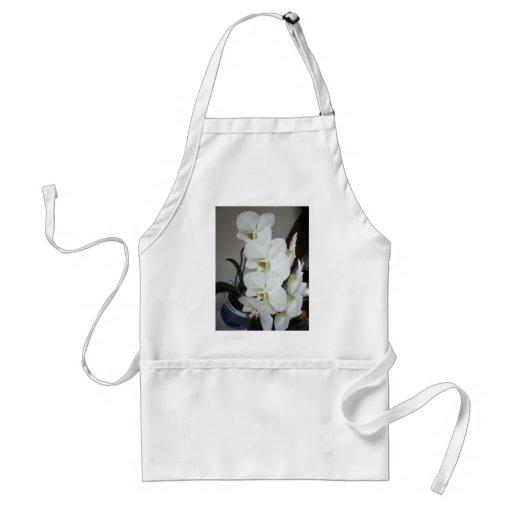 white orchids apron