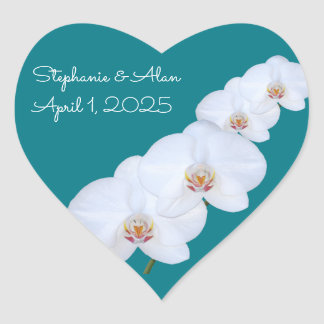 White Orchids Branch Wedding Stickers