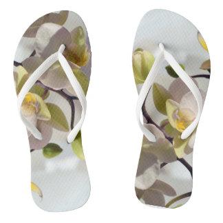 White Orchids Flip Flops
