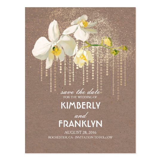 White Orchids Gold Glam Vintage Save the Date