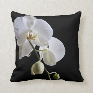 White Orchids on Black Throw Pillow Cushion