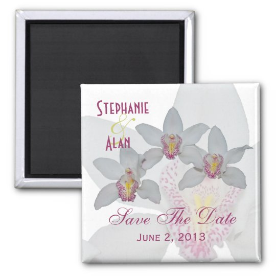 White Orchids Save The Date Magnets