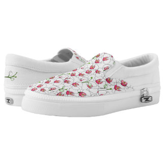 White orchids. Slip-On shoes