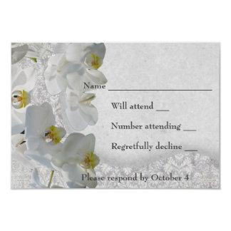 White Orchids Vintage Damask RSVP Card