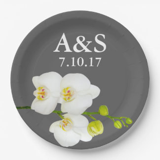 White Orchids Wedding Couple's Initials & Date Paper Plate