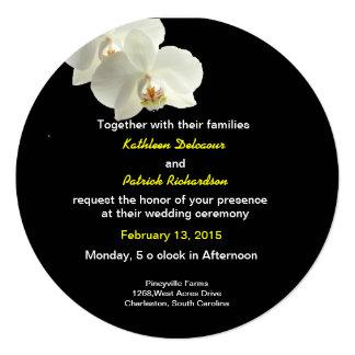White Orchids Wedding Invitation Card Custom Invite