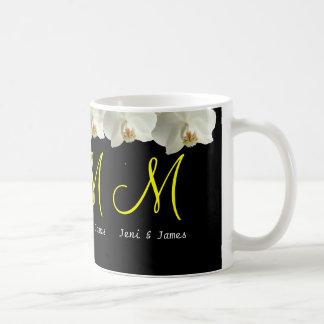 White Orchids Wedding Monogram Mugs Gift Favor