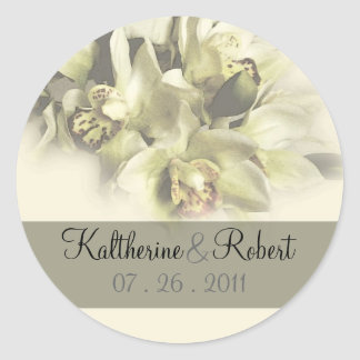 White orchids wedding save the date1 round sticker