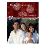 White Ornaments Family Christmas Photo Postcard