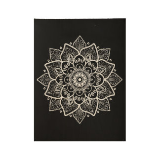 White Ornate Floral Mandala On Black Wood Poster