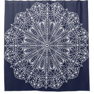 White Outline Bohemian Floral Mandala Shower Curtain