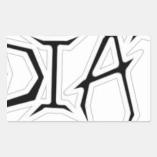 White Outline Rectangular Stickers