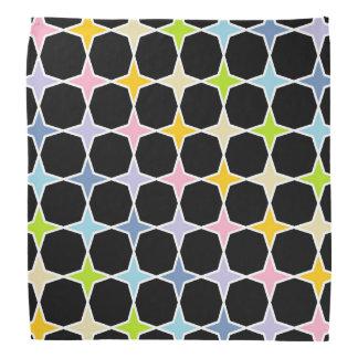 White Outlined Pastel Rainbow 4 Point Stars Bandana