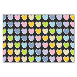 White Outlined Pastel Rainbow Hearts Tissue Paper