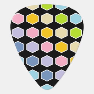 White Outlined Pastel Rainbow Hexagons Plectrum