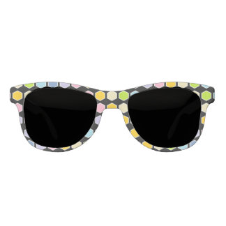 White Outlined Pastel Rainbow Hexagons Sunglasses