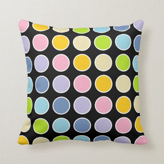 White Outlined Pastel Rainbow Polka Dots Cushion