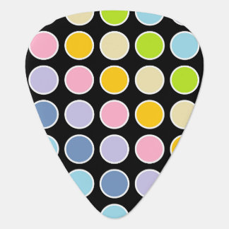 White Outlined Pastel Rainbow Polka Dots Guitar Pick