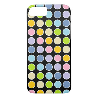 White Outlined Pastel Rainbow Polka Dots iPhone 8/7 Case
