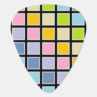 White Outlined Pastel Rainbow Squares Plectrum