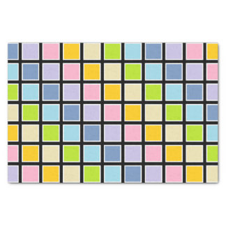 White Outlined Pastel Rainbow Squares Tissue Paper