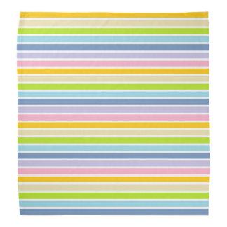 White Outlined Pastel Rainbow Stripes Bandana