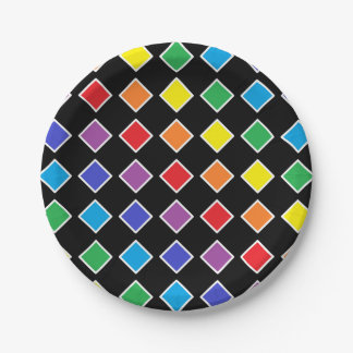 White Outlined Rainbow Diamonds Paper Plate