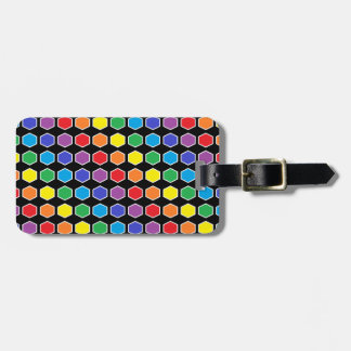 White Outlined Rainbow Hexagons Luggage Tag