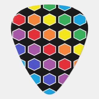 White Outlined Rainbow Hexagons Plectrum
